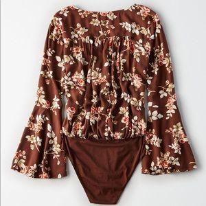 American Eagle Floral Wrap Bodysuit